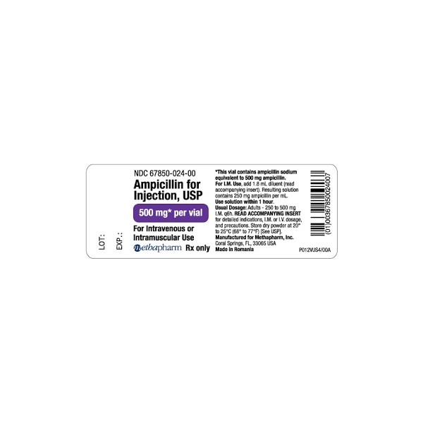 Ampicillin Injection SDV 500mg 10 vial pack Methapharm Label Human
