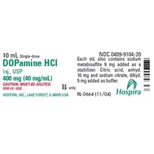Dopamine Injection 40mg/ml 10ml 25pk  Full Pack Only