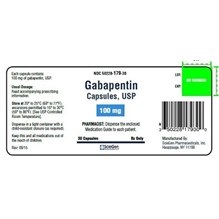 Gabapentin Caps 100mg 500ct  Sciegen Label